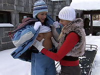 Lesbian fun in the snow