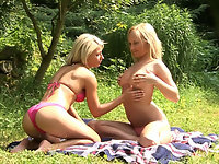 Lesbian sex in the forest