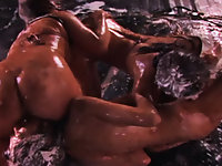 Sweet Karina, Kita and Tooka cover themselves in food and whipped cream in this Japanese bondage film.  Each one slowly removes her jewel-colored bikini as they all lick the food off of their skin.  Their mistress then covers them in chocolate sauce, hands them a sprinkler hose and watches them have fun with the water.