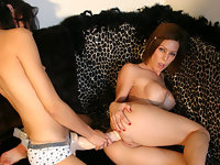 Horny lesbians strap on action