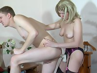 Sassy blonde plays with her strap-on schlong ready to pack her guy's butt