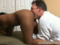 Ebony lady loves the way man licks her ass hole so much that she even screams she's about to cum because of it. You can hear her moan real hard and it goes even harder as man licks her pussy.