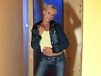 Innocent, blonde teen Hanna poses in the hallway wearing a denim jacket, yellow tank top and blue jeans. She smiles coyly as she starts to peel off her layers of clothing down to her animal print panties. She pulls her panties up into her pussy lips to show a bit of camel toe before stripping completely. She lustily rubs her perky, little breasts and hard nipples, then slides her hand to her warm, shaved pussy and starts to rub herself.