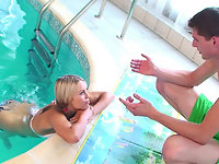 Petite blond teen Sabrina gets ass fucked by the pool & eats cum