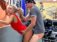 Video of smoking hot teen 18yo Sabrina nailed in the harley garage