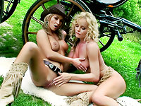 Silvia And Her Friend - Carriage Striptease