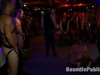 We take Leo Forte to the famous SF Citadel for a play party. Walking by 50 horny men in the playroom, Leo tells Josh West that he has a lot of pent-up energy and he's ready to go hard. Josh orders Leo to present his ass to the crowd but Leo acts like a wild puppy. To punish the boy, Josh flogs him on the wooden cross. Leo calms down some and the crowd is able to inspect Leo. They slap his ass and pull at his cock and balls. The horny men shove their hard cocks into Leo's mouth and finger his hairy hole. Josh suspends Leo in full bondage and fucks the living hell out of him. The used up boy is dragged to the middle of the playroom and men take turns fucking and cumming on him. Leo is exhausted but he's one happy boy.