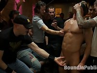 Blond Muscle Stud Blindfolded, flogged, humiliated and fucked in a bar full of strangers