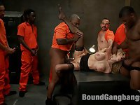 In this fantasy roleplay update Samantha Sin plays a sexy prison warden who accidentally drops her keys on the way to the restroom. When she gets back the prisoners grab her and have their way with her, in every hole she has! Locked in a cell without pussy for so long these boys are ready to have their revenge!