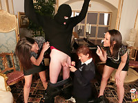 When Lucy and Valentina catch a burglar in their house they jump on him and call the Police. When officer Wendy arrives she pats him down to check for weapons but is shocked that she cant feel anything at all between his legs. As the girls outnumber him she decides to drop his trousers and then his underwear to investigate closer and they are all shocked at how small his penis is. Theres definitely no offensive weapons down there, laughs Valentina at the tiny willy. The girls gather round him to study it and remark on how similar it is to a little snail. They start to stroke it to see if it gets any bigger but cant help laughing that bad people like him wer obviously at the back of the queue when God was giving out cocks. As the three of them take turns to wank it the thief loses control and starts to cum which makes the girls laugh even more. Lets get this wanker..