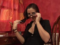 sensuous brunette office