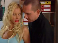sexual blonde office babe